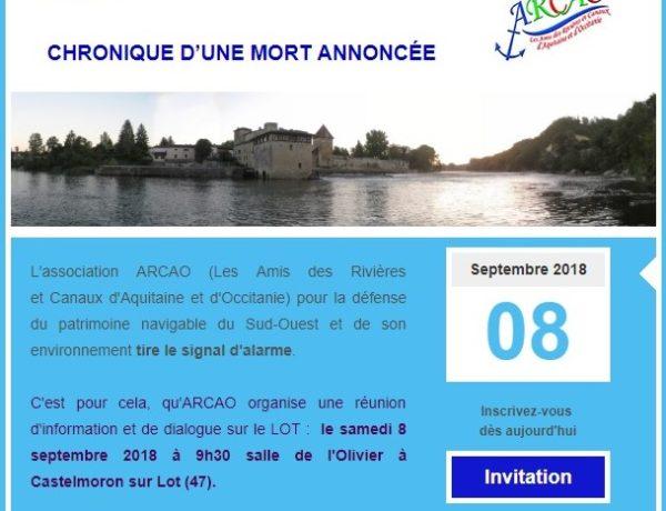 Le Lot Aval – Réunion samedi 8 septembre 2018 – Votre présence est indispensable !