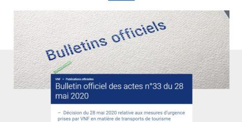 Décision exceptionnelle du directeur général publiée le 28 mai au BO des actes n° 33 de VNF